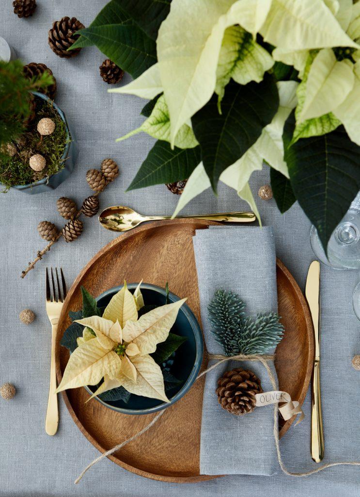 Kerstster wit op tafel